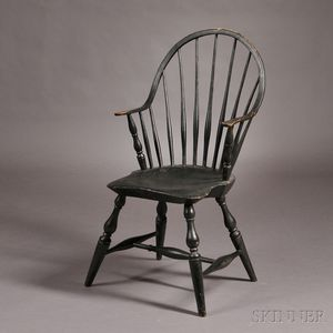 Black-painted Windsor Bow-back Continuous Armchair