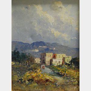 Ilgo Maresca (Italian, b. 1900)      View of Houses on a Hillside.
