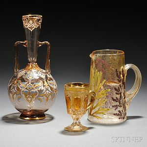 Three Pieces of Moser-type Enameled Amber-colored Glass