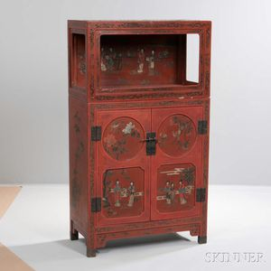 Shanxi Decorated Red Lacquer Cabinet