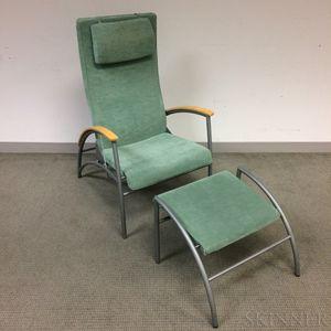 Modern Upholstered Birch and Tubular Steel Armchair and Ottoman