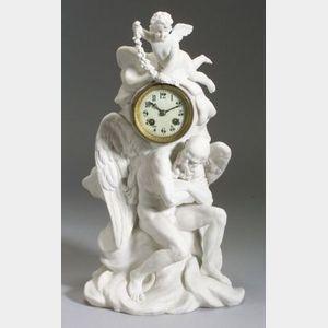 Sevres Bisque Porcelain Figural Clock
