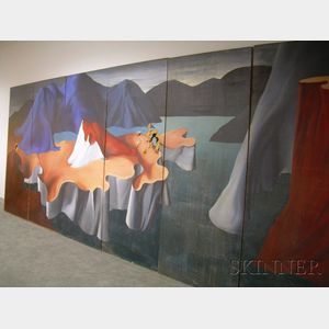 James Meikle Guy  (American, 1909-1983)      Surrealist Mountain Landscape / A Six-Panel Mural
