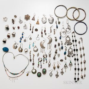 Group of Mostly Silver Costume Jewelry