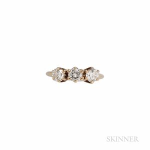 14kt Gold and Diamond Three-stone Ring