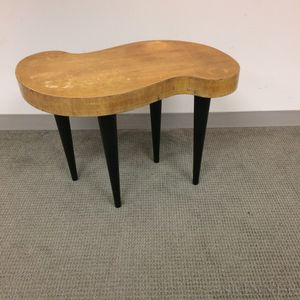 Modern Teak Veneer Kidney-shaped Coffee Table
