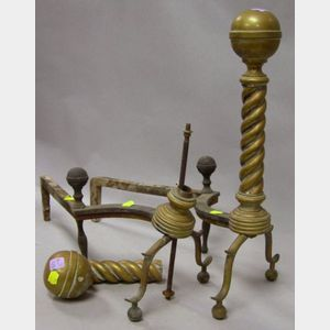 Pair of Brass Belted Ball-top and Spiral Turned Andirons.
