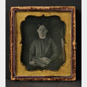 Sixth Plate Daguerreotype Portrait of a Girl with a Concertina