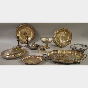 Approximately Eleven Pieces of  Silver-Plated Tableware