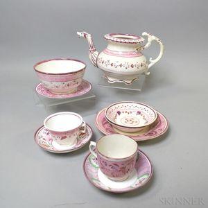 Twelve Pink Lustre Ceramic Teaware Items
