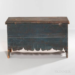 Dark Blue/green-painted Punch-carved Crease-molded Pine Chest