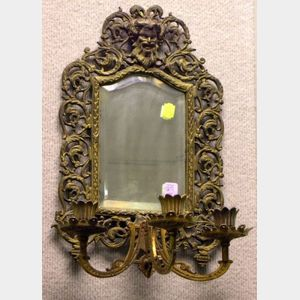 Rococo-style Cast Brass Mirror Wall Sconce and Mirror.