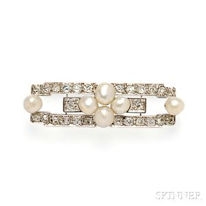Baroque Freshwater Pearl and Diamond Brooch