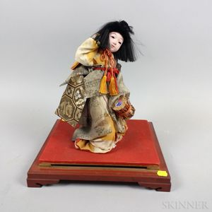 Carved and Painted Wood and Fabric Japanese Doll