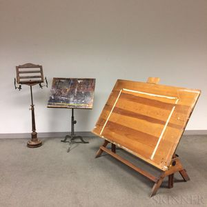 Keuffel & Esser Co. Drafting Table, an Unmarked Drafting Table, and a Turned Wood Reading Stand.