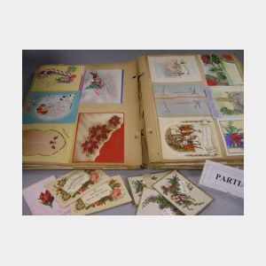 Two Albums of Color Lithograph Scraps, Cards, and Valentines, with a Collection of Color Lithographed Fairy Tale Panels, Christmas and