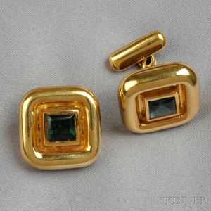 18kt Gold and Green Tourmaline Cuff Links