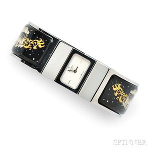 Stainless Steel and Enamel Bangle Watch, Hermes