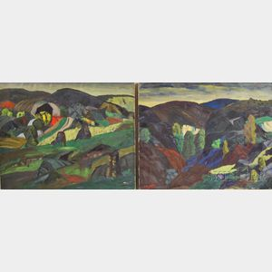 Leighton Cram (American, 1895-1981)      Two Works: The Cut Through the Hills