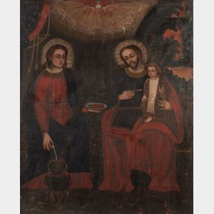 Spanish Colonial School, 19th Century      The Holy Family/A Domestic Scene with Joseph Feeding the Infant Jesus