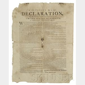 Rare and Historically Important Contemporary Broadside Printing of the Declaration   of Independence