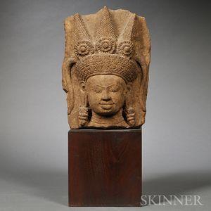 Bodhisattva Stone Head and Stand