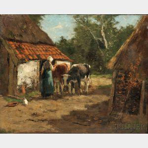 Johann Scherrewitz (Dutch, 1868-1951)      Barnyard with Milkmaid and Cows