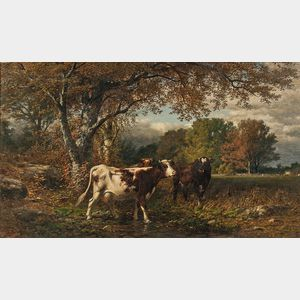 James McDougal Hart (American, 1828-1901)      Pastoral Landscape with Cows in a Field