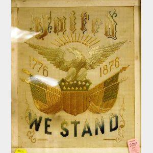Framed Centennial Needlework United We Stand, 1776-1876.