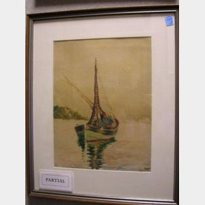 Two Framed Watercolors of Sailboats