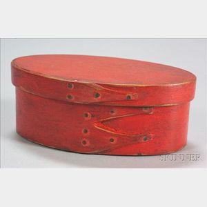 Shaker Small Red-painted Oval Covered Box