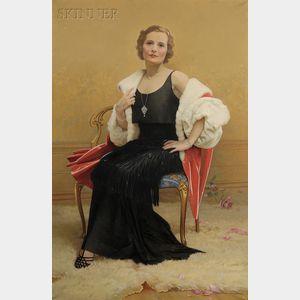 George Frederick Kaber (American, 1860-1951)      Portrait of Grace Kaber McTarnahan, the Artist's Daughter, in Elegant Dress