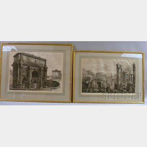 Luigi Rossini (Italian, 1790-1857) Lot of Four Prints: Veduta dellArco di Settimio Severo, Veduta dell Interno del Tempio della C...