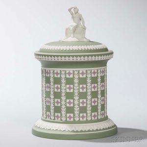 Modern Wedgwood Tricolor Jasper Dip Diceware Jar and Cover