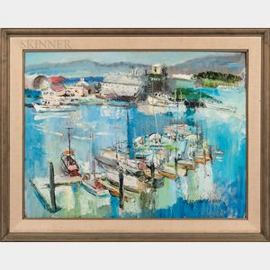 John Cunningham (Scottish, 1926-1998)      Harbor Scene.