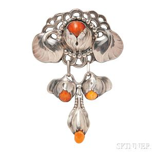 Silver and Amber Brooch,