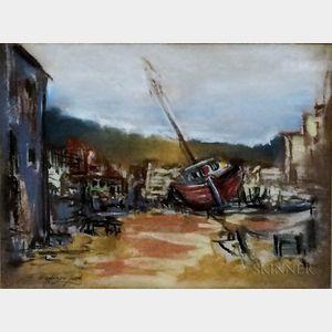 Francis Hopkinson Smith (American, 1838-1915)      Boatyard