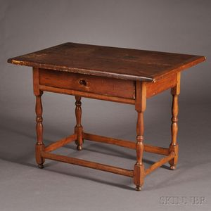 Maple and Pine Tavern Table with Drawer