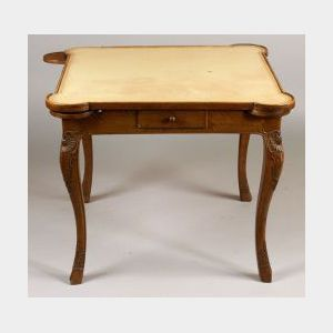 Regence-style Beechwood Leather-top Game Table