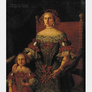 Spanish School, 17th Century Style      Portrait of a Noblewoman and Her Daughter
