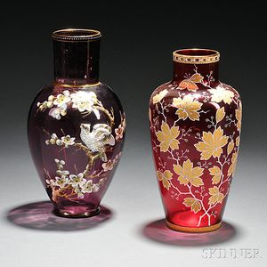 Two Moser-type Gilded and Enameled Glass Vases