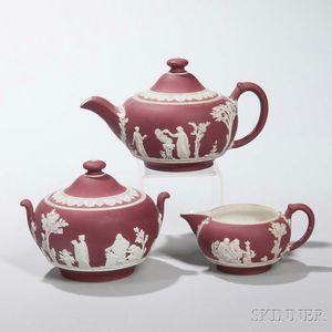 Wedgwood Crimson Jasper Dip Three-piece Tea Set