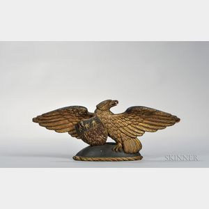 Carved Gilt and Polychrome Spreadwing Eagle Plaque