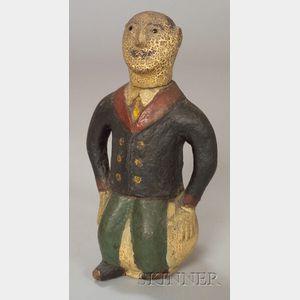 Polychrome Painted Papier-mache Georgia Bottle Man