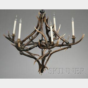 Adirondack-style Five-light Antler Chandelier