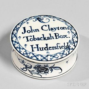 Staffordshire Creamware Covered Tobacco Box