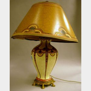 Belgian Art Deco Gilt-metal Mounted Enamel Glazed Pottery Table Lamp with Shade
