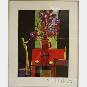 European School, 20th Century      Still Life with Figure and Flowers.