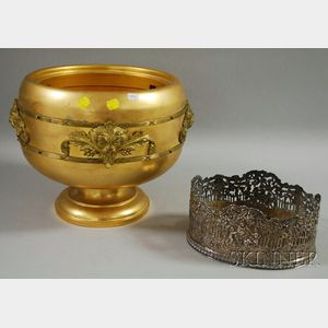 European Oval Reticulated Silver-plated Repousse Scenic Planter and Georgian-style Gilt-metal Footed Planter.
