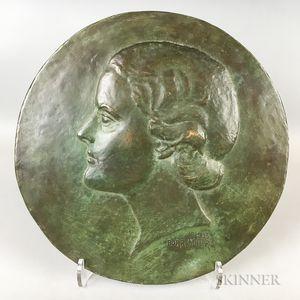 Large Burr Miller Jr. (American, 1904-1958) Bronze Portrait Plaque